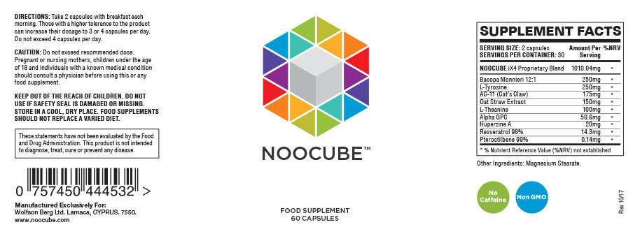 noocube bottle label
